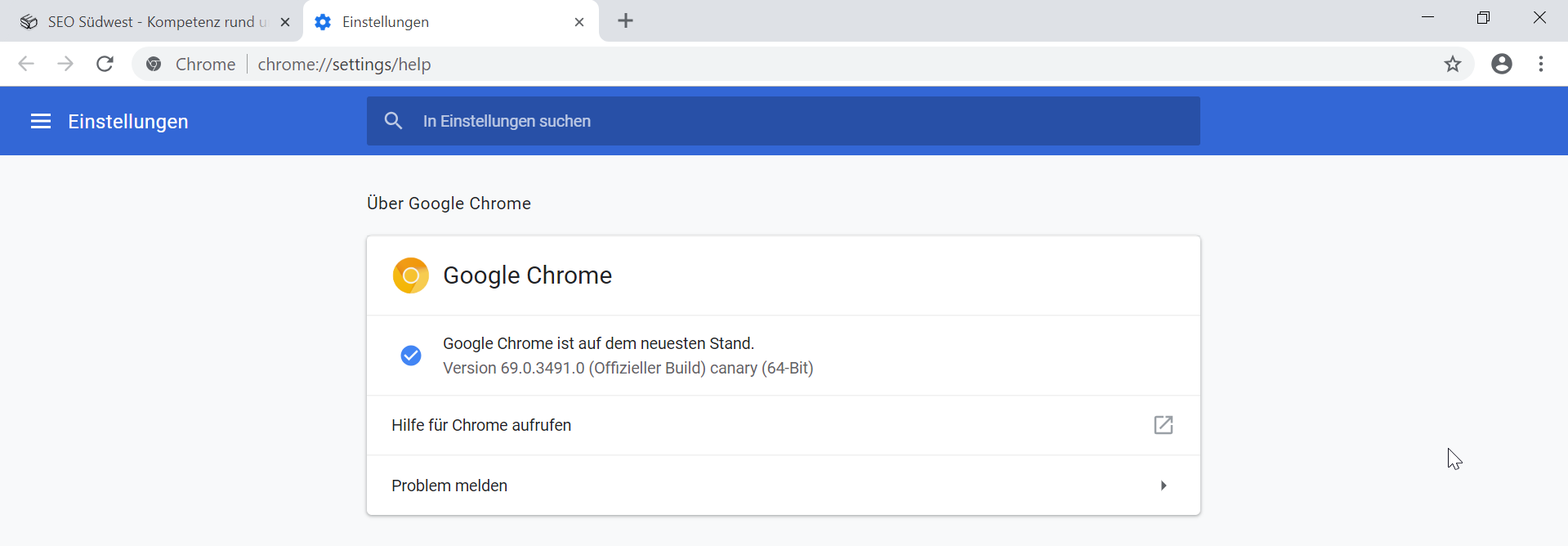 Google Chrome Canary mit Material Design