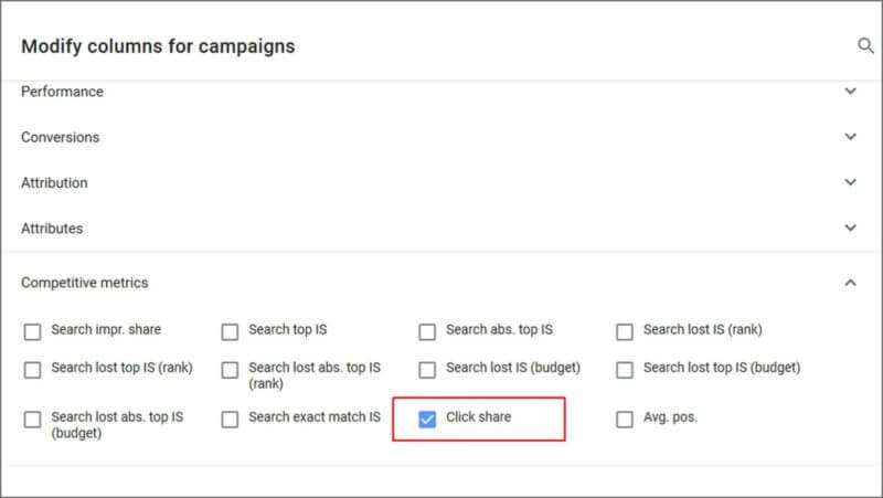 Google Ads: Click Share