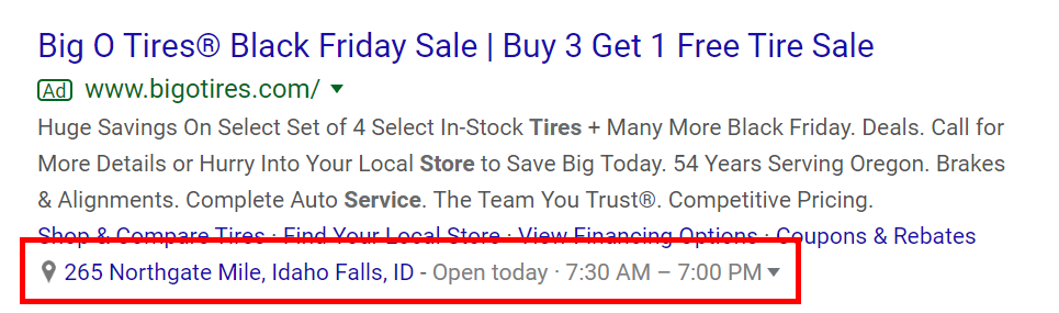 Google Ad mit Local Extension