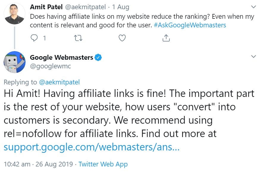 Google: Affiliate-Links schaden nicht den Rankings