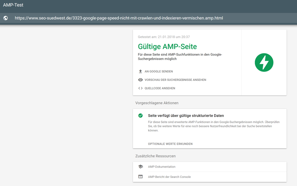 AMP Testing-Tool: neue Funktionen