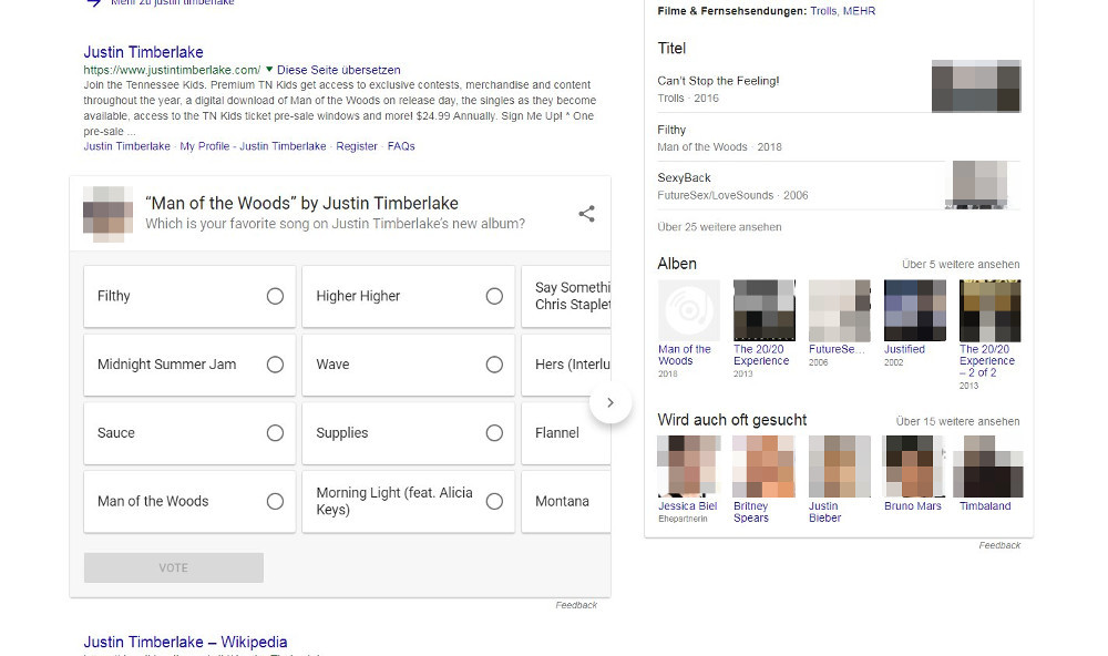 Google: Umfrage in neuem Featured Snippet