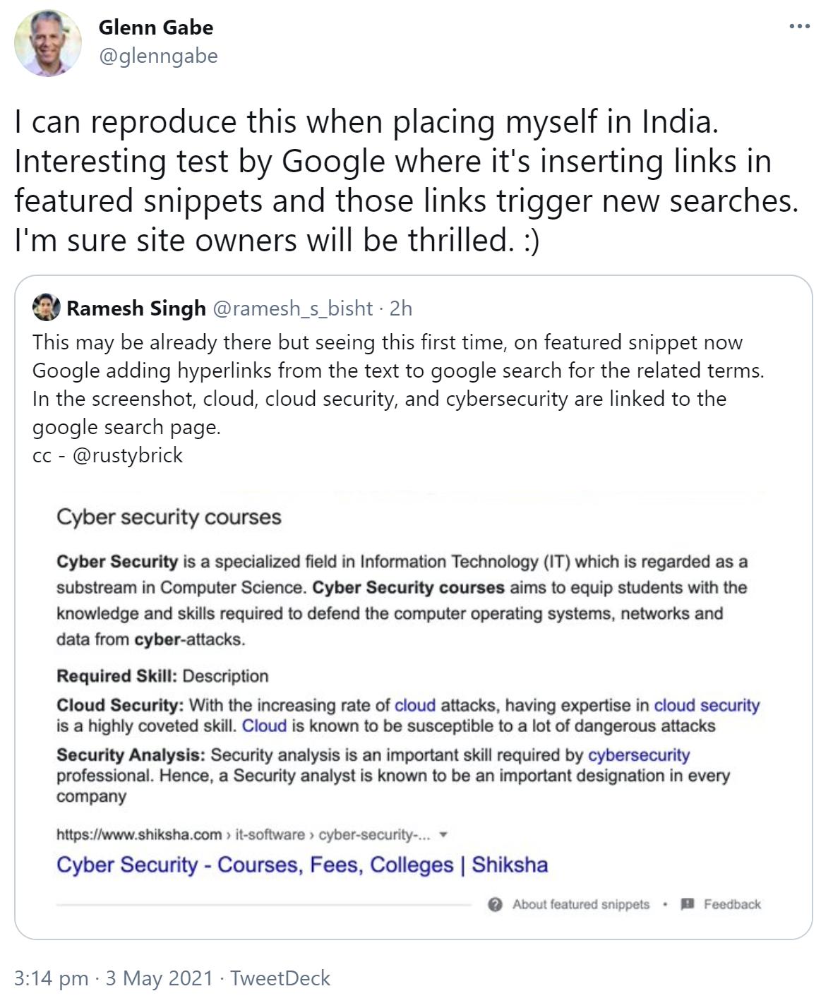 Google insère des liens vers d'autres pages de résultats de recherche dans les extraits de code