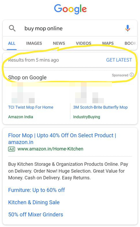 Google: 'Get Latest'-Button