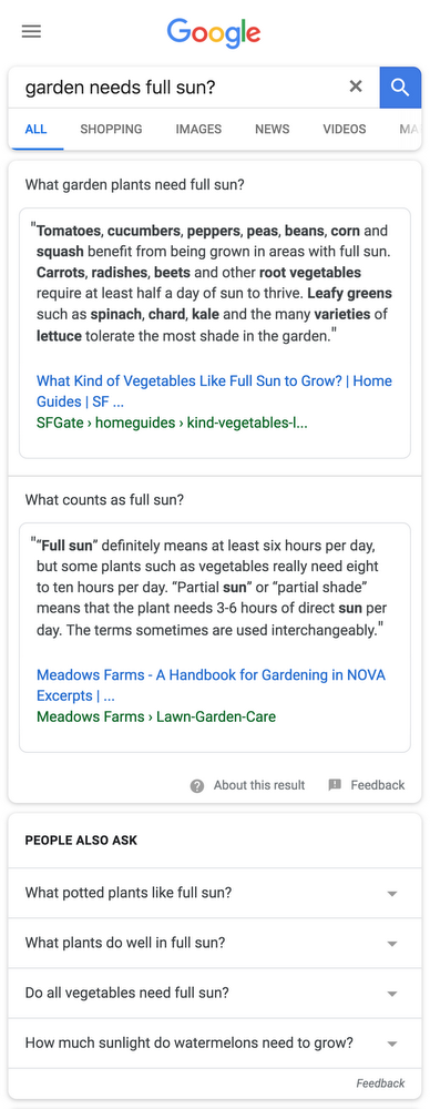 Google: multi-facettierte Featured Snippets