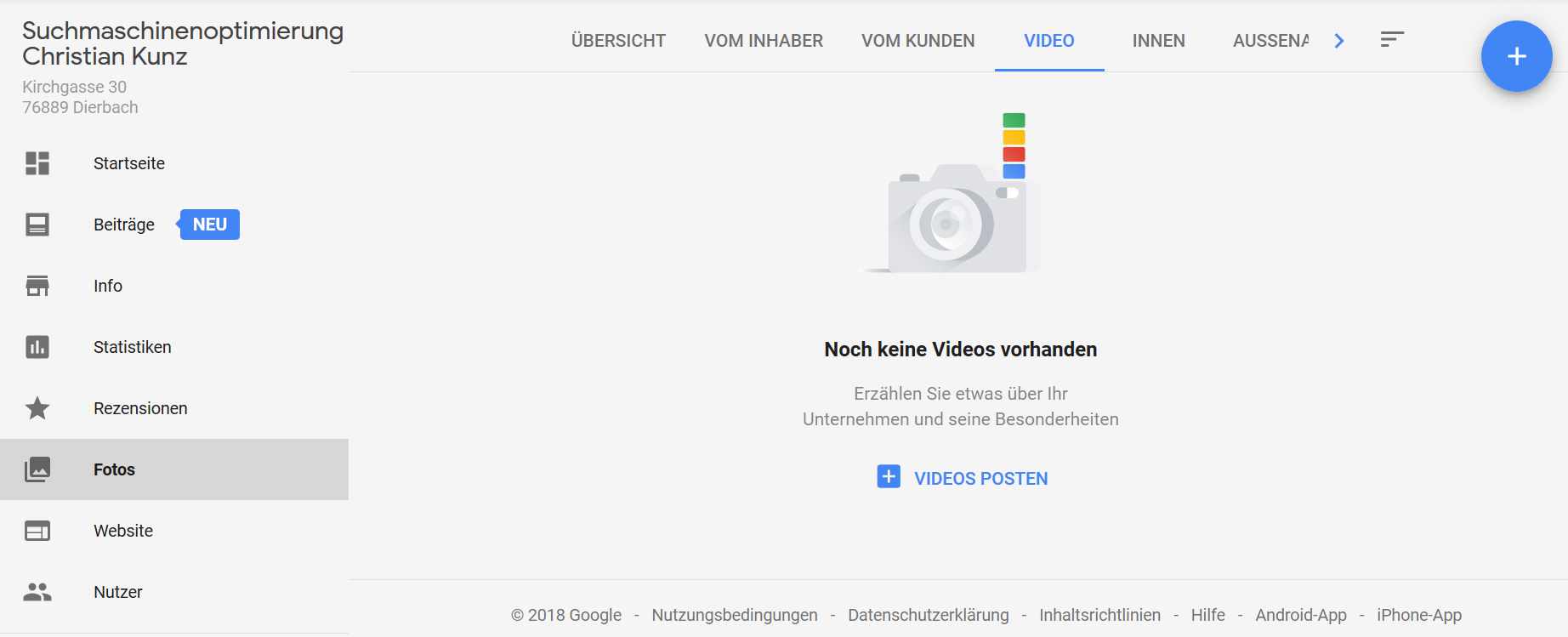 Google My Business-Dashboard mit Video-Tab