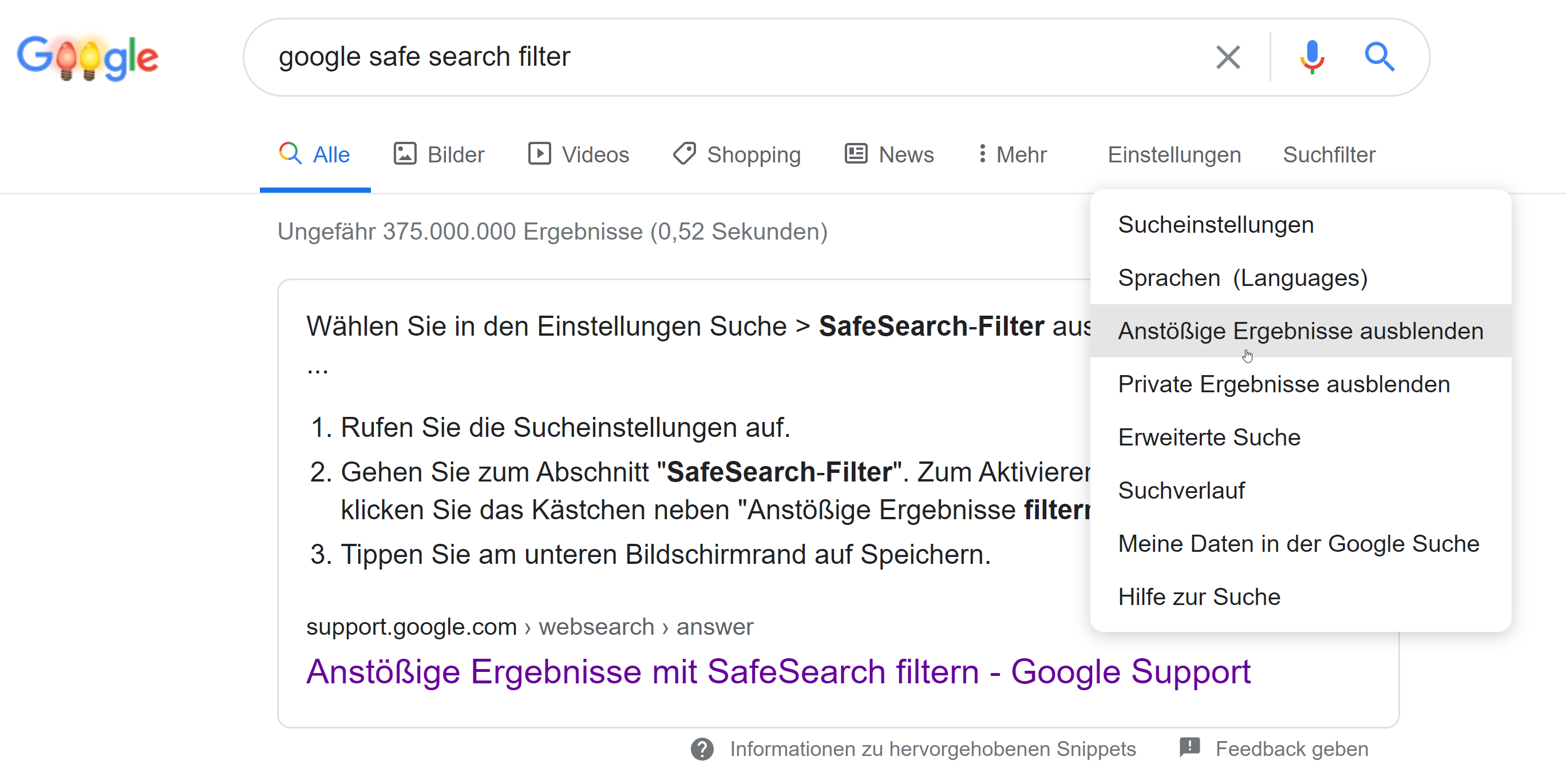 Google Safe Search Filter