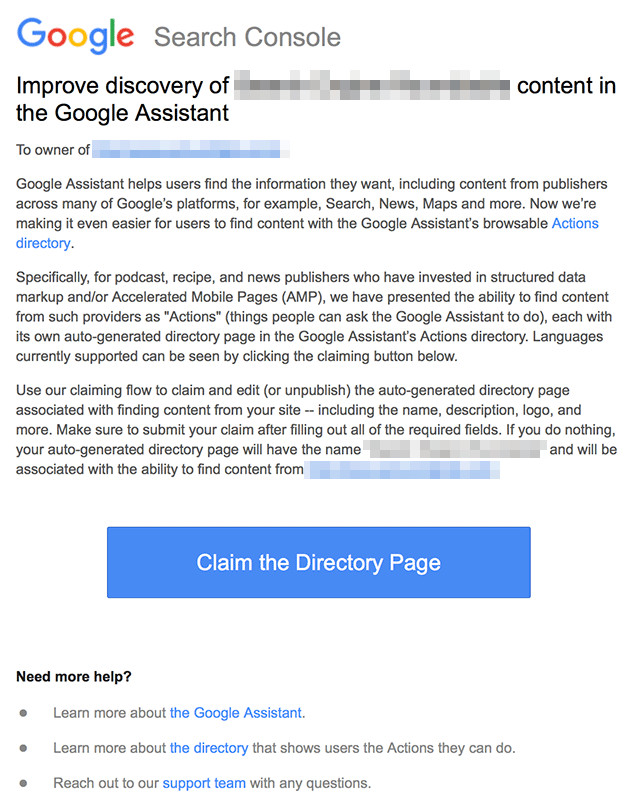 Google Actions: Information per Google Search Console