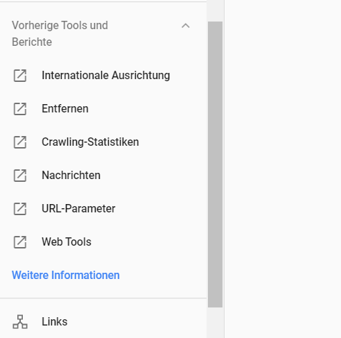 Google Search Console: neues Menü mit Links auf alte Reports