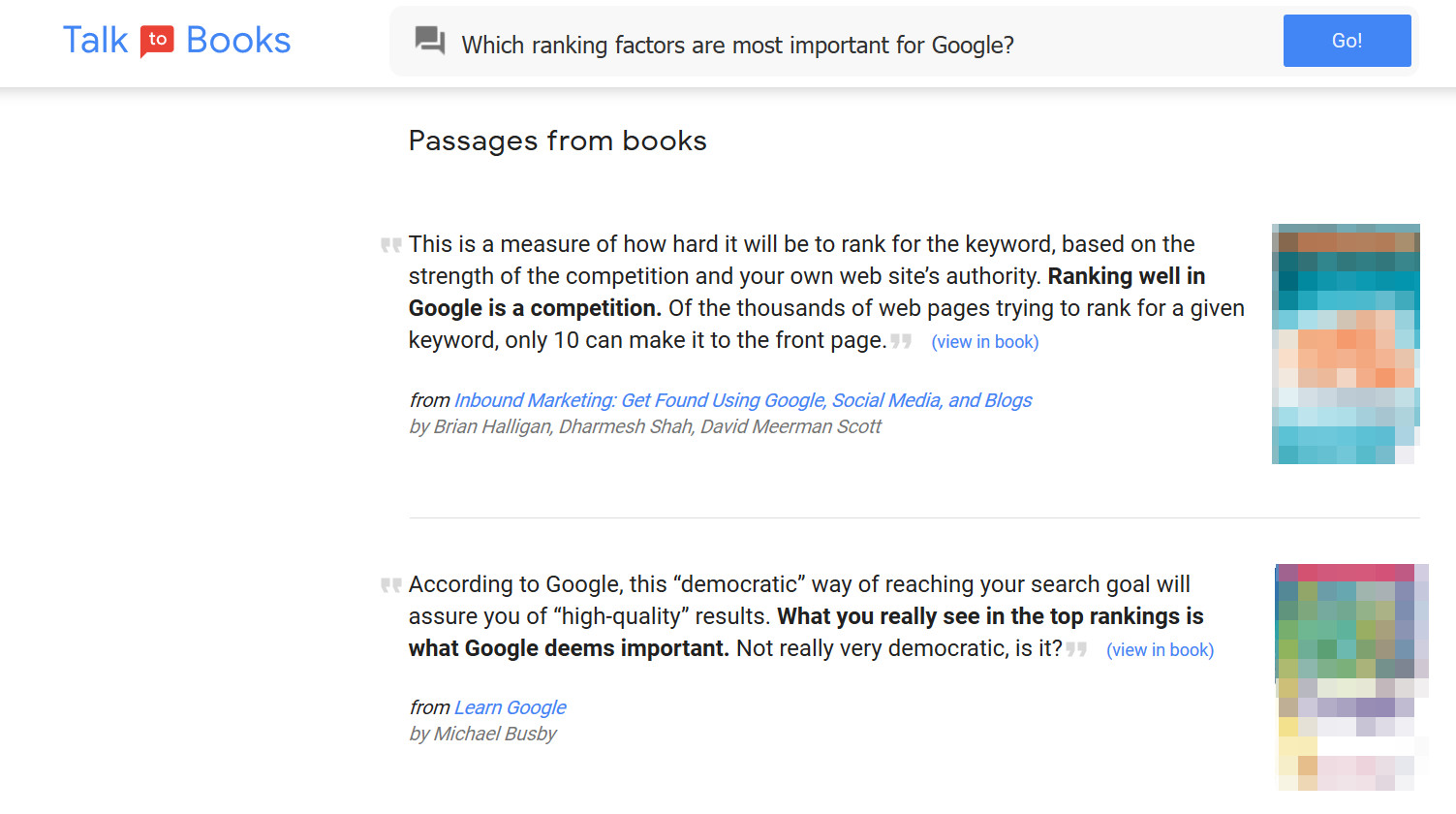 Google 'Talk to Books'