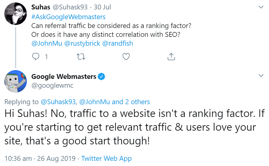 Google: Referral-Traffic einer Website ist kein Rankingfaktor
