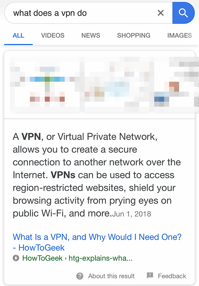 Google: Featured Snippet for 'what does a vpn do'