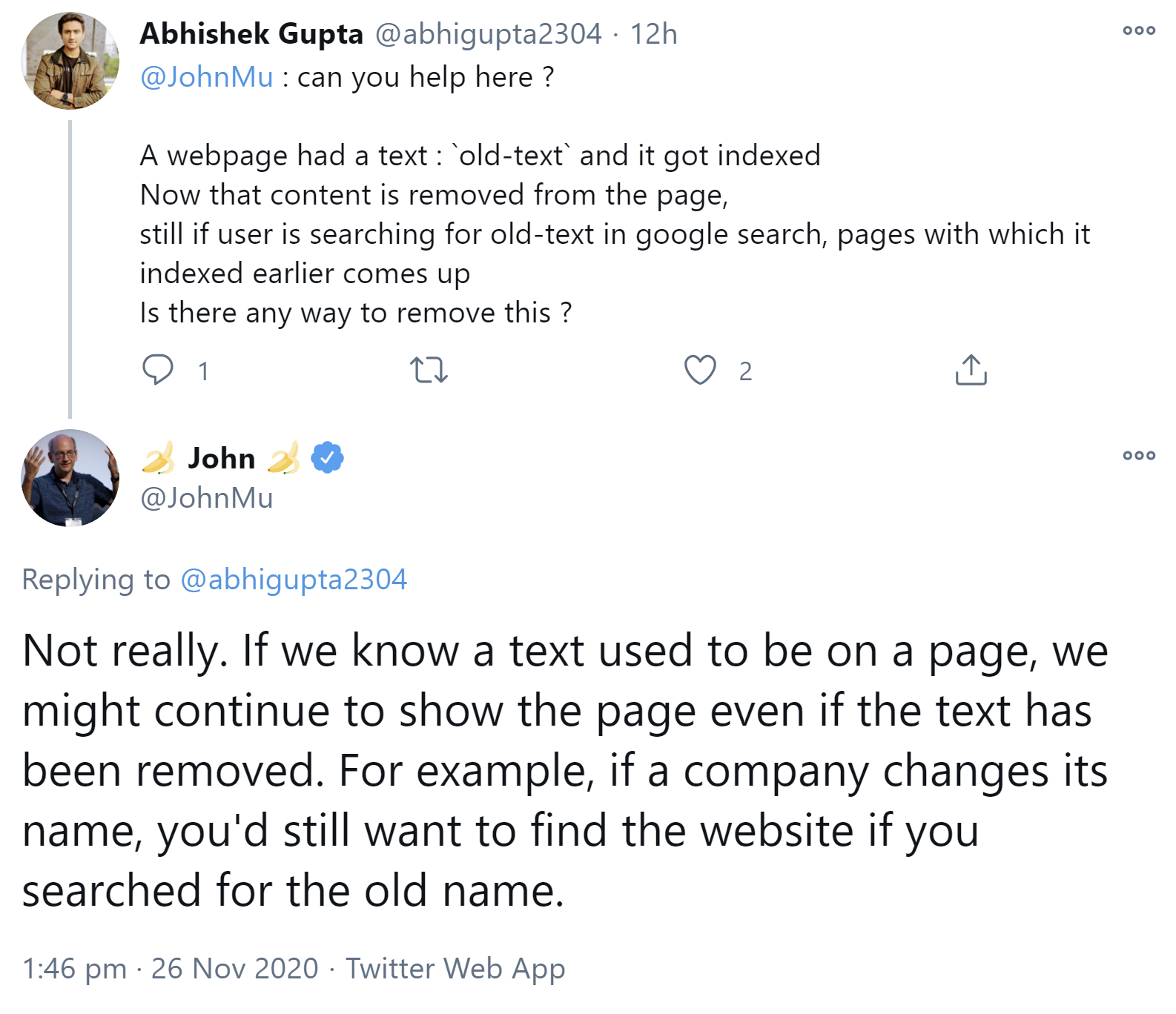 Google classe les pages dont le contenu a déjà été supprimé