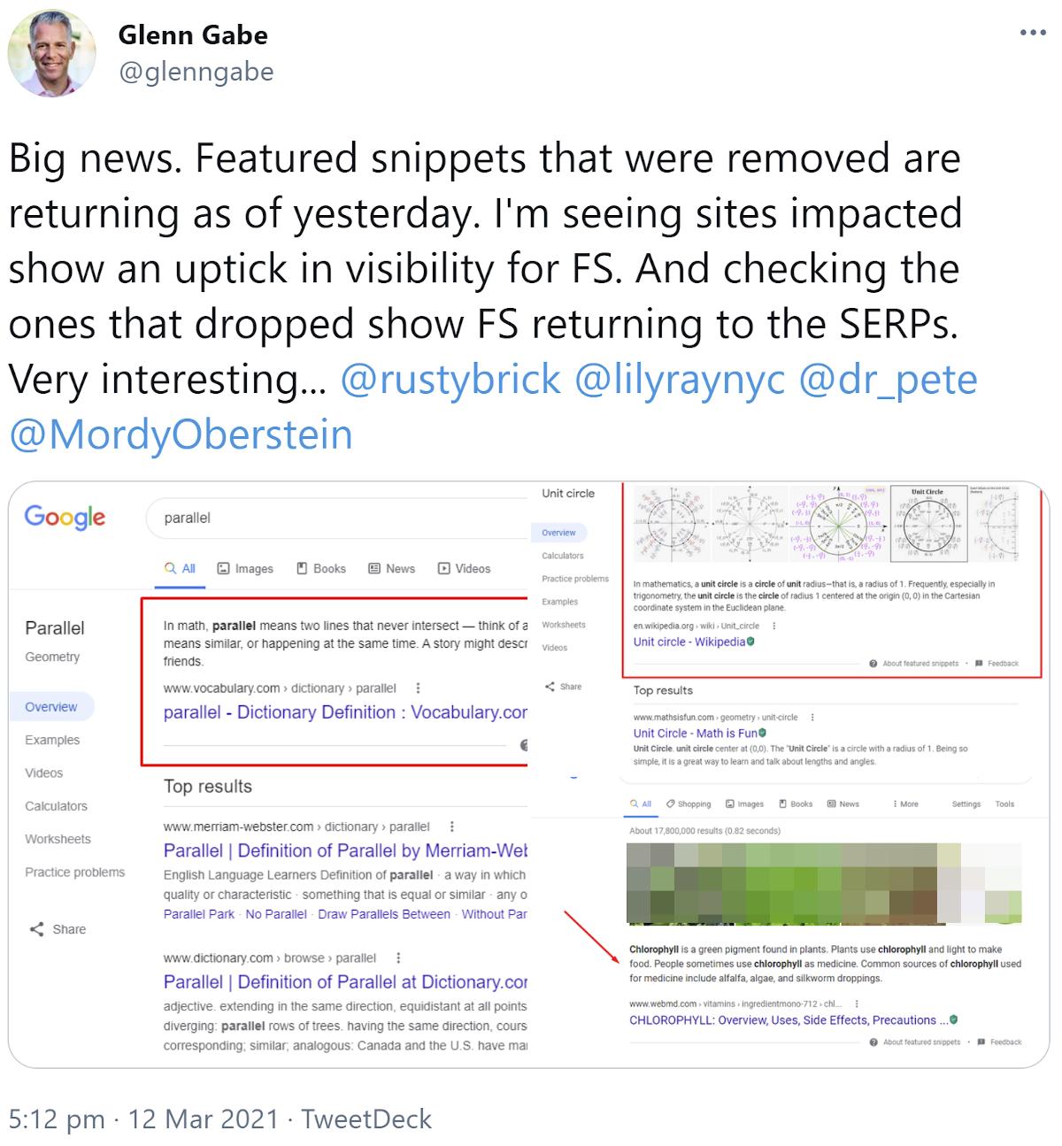 Google présente à nouveau des extraits de texte en vedette