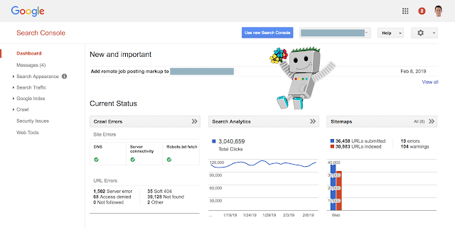 Alte Google Search Console: Dashboard