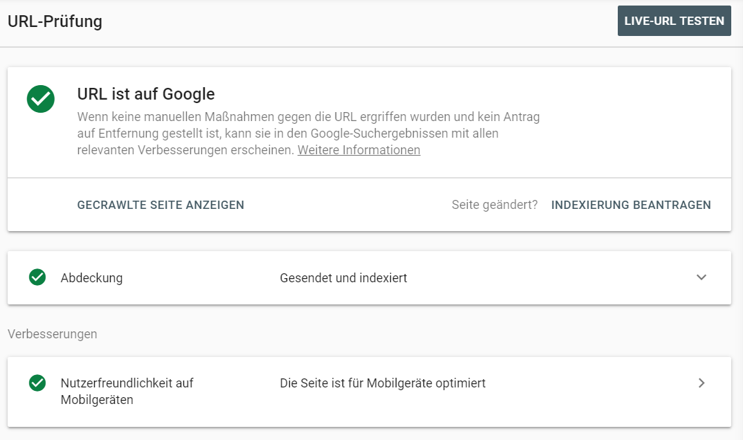 URL Inspection Tool in der Google Search Console