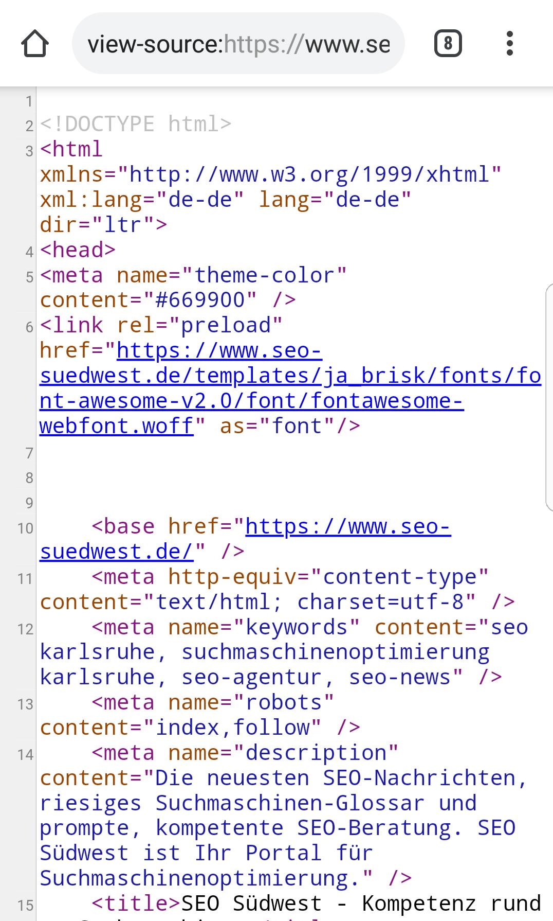 HTML Quellcode ansehen auch in mobilen Browsern kein Problem ...