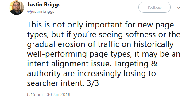 This is not only important for new page types, but if you're seeing softness or the gradual erosion of traffic on historically well-performing page types, it may be an intent alignment issue. Targeting & authority are increasingly losing to searcher intent. 3/3