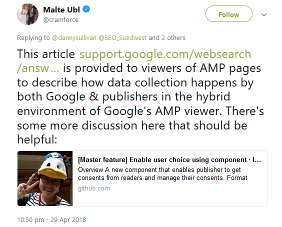 Malte Ubl: answer regarding AMP and GDPR