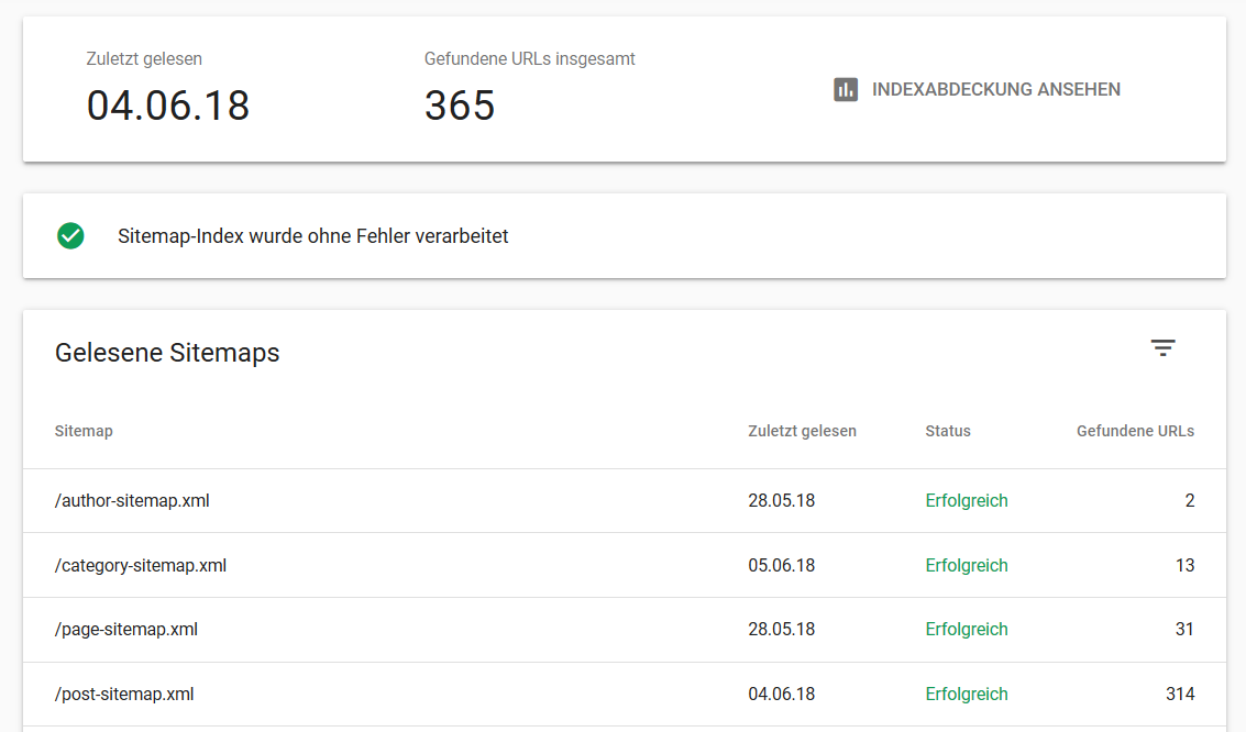 Neue Google Search Console: Sitemaps