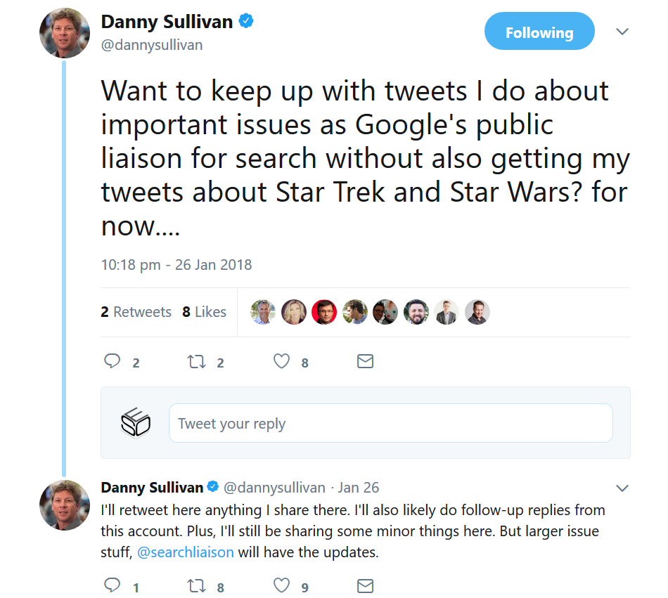Google Searchliaison: neues Must-Follow-Profil auf Twitter